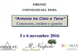 Armonie tra Cielo e Terra: Convegno a Firenze il 5-6 novembre 2016